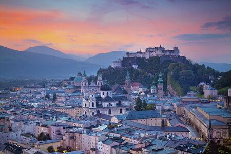 salzburg: Salzburg during autumn sunrise.