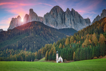 dolomites: Dolomites. The little church of S.Giovanni in Ranui, located in Funes Valley, Southern Tyrol, Italy. Stock Photo