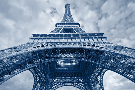 toned image: Eiffel Tower. Toned image of Eiffel Tower in Paris, France. Stock Photo