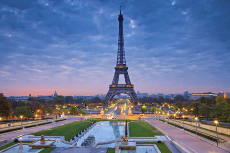 Paris, France. Image of Paris at sunrise with the Eiffel Tower. 免版税图像