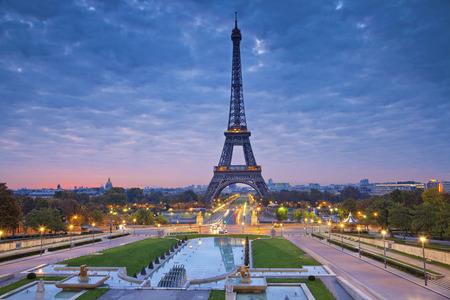 Paris, France. Image of Paris at sunrise with the Eiffel Tower. photo