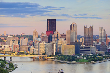 pittsburgh: Pittsburgh Skyline. Image of Pittsburgh downtown skyline during summer sunset. Stock Photo