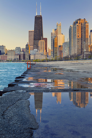 lake shore drive: Chicago skyline. Image of the Chicago downtown lakefront at sunset.