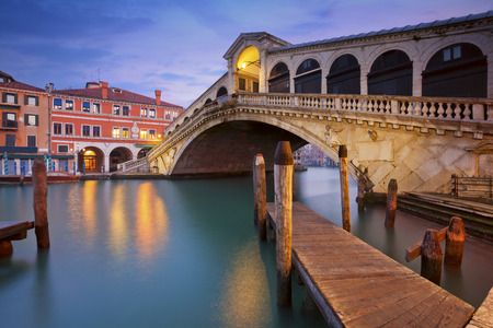 rialto bridge: Venice. Image of Rialto Bridge in Venice at dawn. Stock Photo