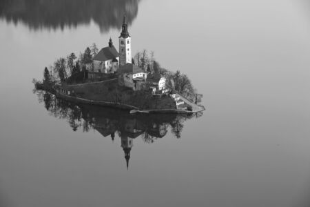 bled: Lake Bled. Black and white image of Lake Bled with St. Marys Church of the Assumption on the small island. Bled, Slovenia, Europe.
