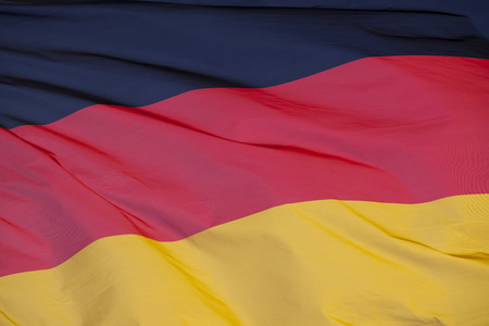 National flag of Germany. High resolution image of German national flag flaying in the wind.
