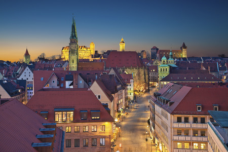 nuremberg: historic downtown of Nuremberg, Germany at sunset. Stock Photo