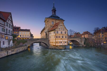old town hall: The Old Town Hall (1386) of Bamberg City during sunset.  Stock Photo