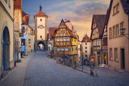 der: Rothenburg ob der Tauber. Image of the Rothenburg ob der Tauber a town in Bavaria, Germany, well known for its well-preserved medieval old town.