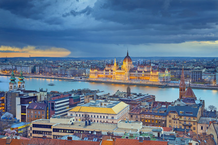 Budapest. Stormy weather over Budapest, capital city of Hungary. photo