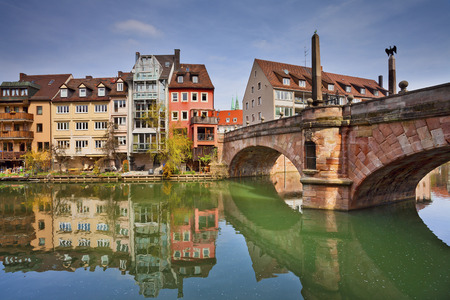 river       water: Nuremberg. Image of the Nuremberg old town during sunny spring day.
