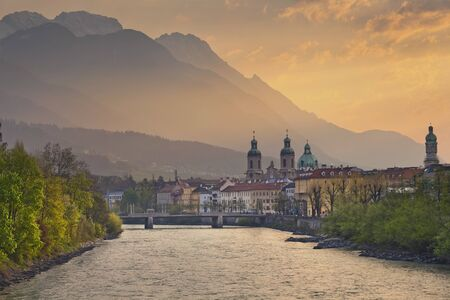 innsbruck: Innsbruck. Image of Innsbruck, Austria during dramatic sunrise.