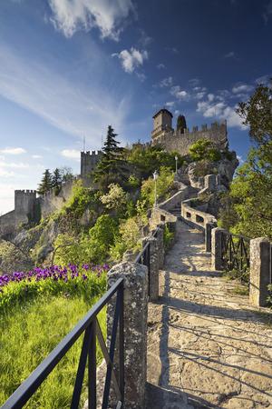 san marino: San Marino. Image of castle in San Marino during sunny spring day.