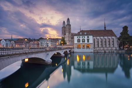 zurich: Zurich. Image of Zurich during dramatic sunrise.