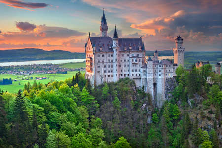 neuschwanstein: Neuschwanstein Castle Germany. Hohenschwangau Germany  May 9 2015: view of Neuschwanstein Castle on may 9th near Hohenschwangau Germany during spring afternoon surrounded by spring colours. Editorial