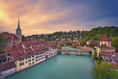 Bern. Image of Bern capital city of Switzerland during dramatic sunset. Banco de Imagens - 40223209