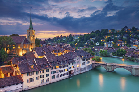 local landmark: Bern. Image of Bern capital city of Switzerland during dramatic sunset.