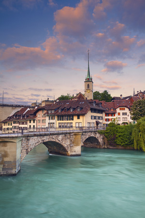 local landmark: Bern. Image of Bern capital city of Switzerland during sunrise. Stock Photo