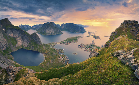 nature: Norway. View from Reinebringen at Lofoten Islands located in Norway during summer sunrise. Stock Photo