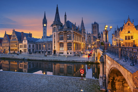 church tower: Ghent. Image of Ghent Belgium during twilight blue hour.