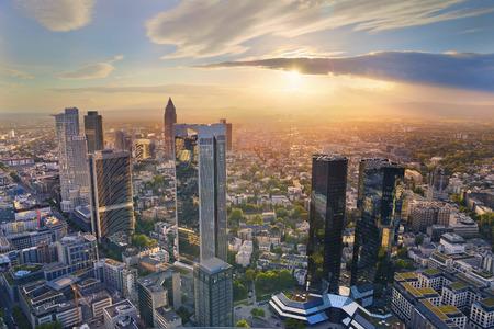 Frankfurt am Main. Aerial view of Frankfurt am Main skyline during golden hour.