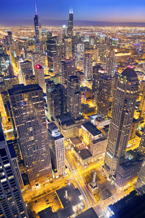 night street: Chicago. Aerial view of Chicago downtown at twilight from high above. Stock Photo