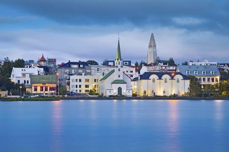 reykjavik: Reykjavik, Iceland. Image of Reykjavik, capital city of Iceland, during twilight blue hour.