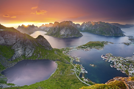 Lofoten Islands. View from Reinebringen at Lofoten Islands, located in Norway, during summer sunset.