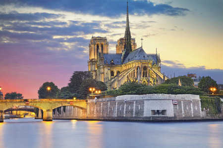 cathedrale: Notre Dame Cathedral, Paris. Image of Notre Dame Cathedral at dusk in Paris, France.