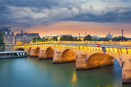 paris france: Paris. Image of the Pont Neuf, the oldest standing bridge across the river Seine in Paris, France.