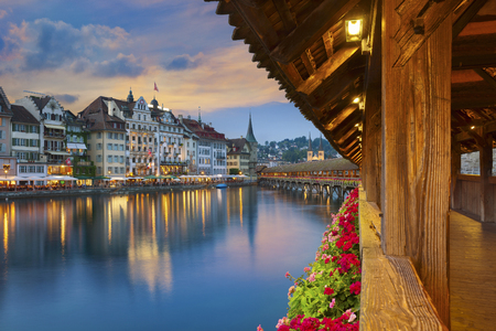 swiss culture: Lucerne. Image of Lucerne, Switzerland during twilight blue hour.