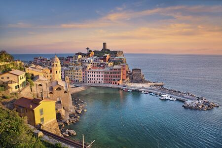 vernazza: Vernazza. Image of Vernazza Cinque Terre, Italy, during sunset.