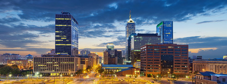 Indianapolis. Image of Indianapolis skyline at sunset. Banco de Imagens