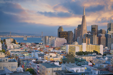 san francisco: San Francisco. Image of San Francisco skyline at sunset. Stock Photo