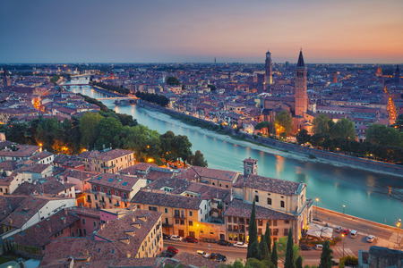 italy: Verona. Image of Verona, Italy during summer sunset.
