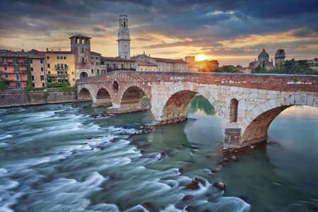 verona: Verona. Image of Verona, Italy during summer sunset.