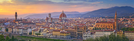 church dome: Florence Panorama. Panoramic image of Florence, Italy during beautiful sunset.