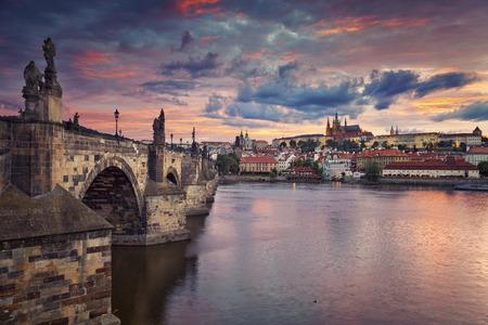 statue: Prague. Image of Prague, capital city of Czech Republic, during beautiful sunset. Stock Photo
