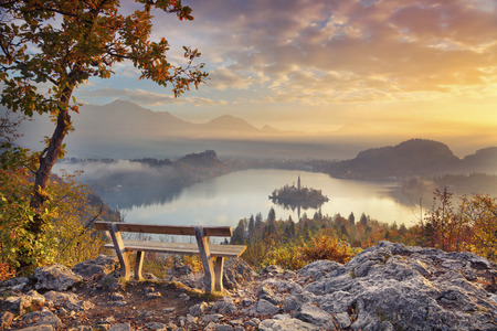 bled: Autumn Lake Bled. Lake Bled with small Bled Island during autumn sunrise. Bled, Slovenia, Europe.