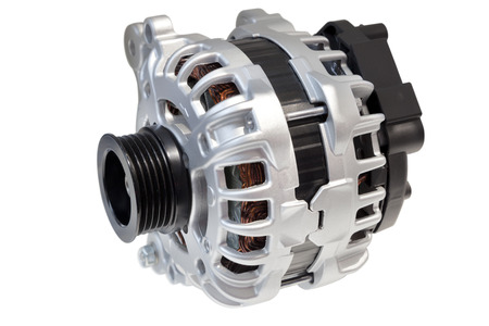 alternator: Alternator. Image of car alternator isolated on white. Clipping path included. Stock Photo