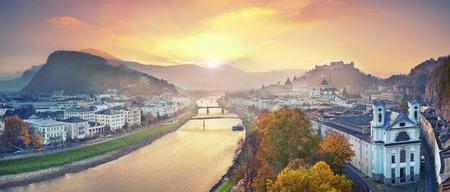 salzach: Salzburg, Austria. Panoramic image of the Salzburg during autumn sunrise. Stock Photo