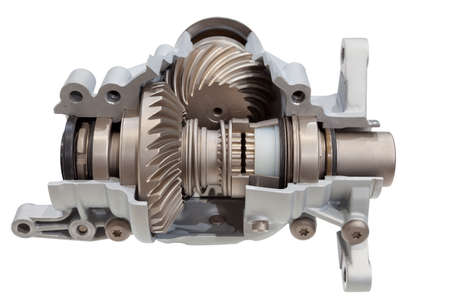gear wheel: All-wheel drive system. Cross-section of all-wheel drive system isolated on white. Clipping path included. Stock Photo