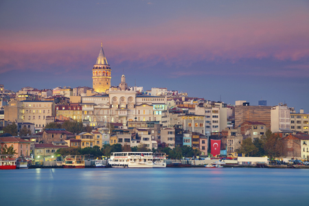 seaway: Istanbul. Image of Istanbul with Galata Tower during twilight blue hour.