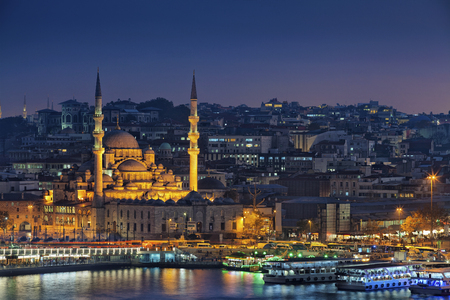 cami: Istanbul. Image of Istanbul with Yeni Cami Mosque during twilight blue hour.