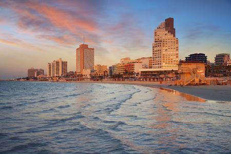 Tel Aviv. Image of Tel Aviv, Israel during sunset.