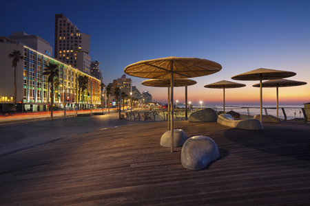 tel: Tel Aviv Promenade. Image of Tel Aviv, Israel during sunset. Stock Photo