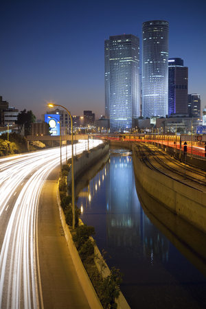 azrieli: Tel Aviv. Image of Tel Aviv, Israel during twilight blue hour. Stock Photo