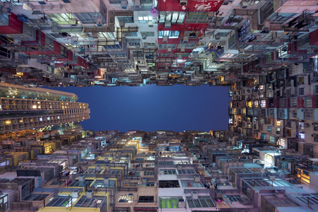 overcrowded: Hong Kong. Old dense residential building in Hong Kong.