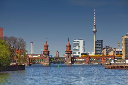 man made structure: Berlin. Image of Berlin skyline  and Oberbaum bridge. Stock Photo