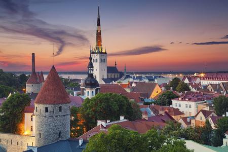 tallinn: Tallinn. Image of Old Town Tallinn in Estonia during sunset.